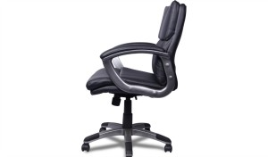 plush medium back office chair in black leather and aluminum alloy base