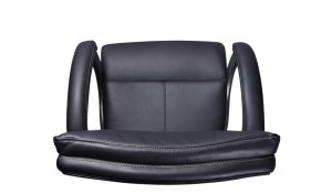 top view of office chair in black leather