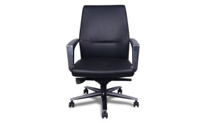 front view of black leather office chair with steel arms and base
