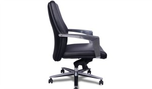 side view of black leather office chair