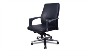 medium back office chair in black leather and steel base