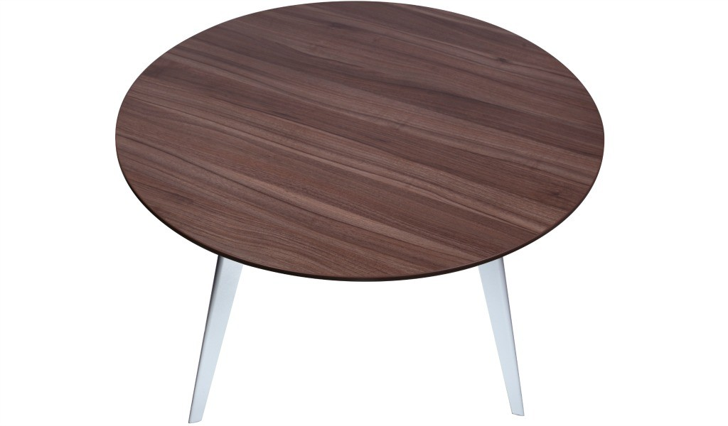 meeting table with round top in walnut finish