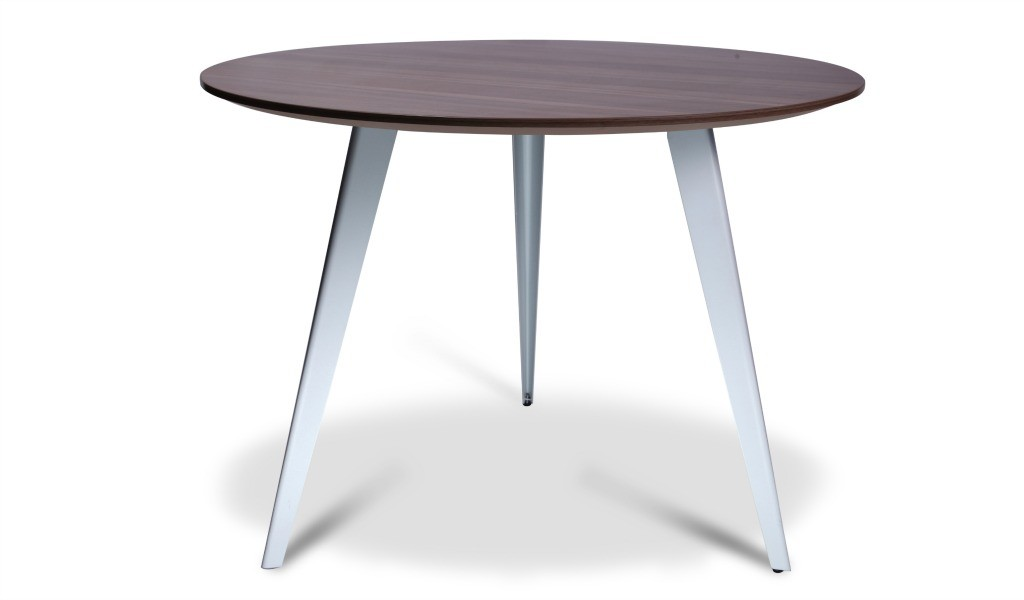 round meeting table with walnut laminate top and white powder coated legs