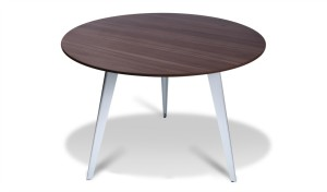 Meeting table with round laminate finish top and three metal legs