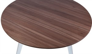 walnut finish wooden top of round meeting table
