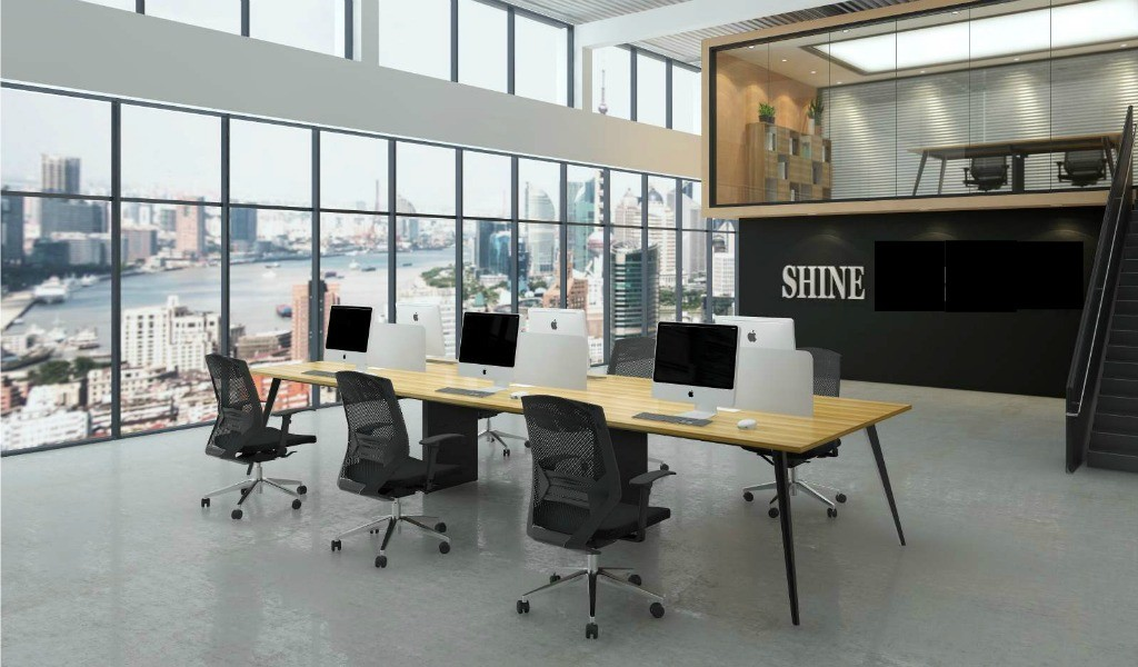 office with linear workstation system with chairs
