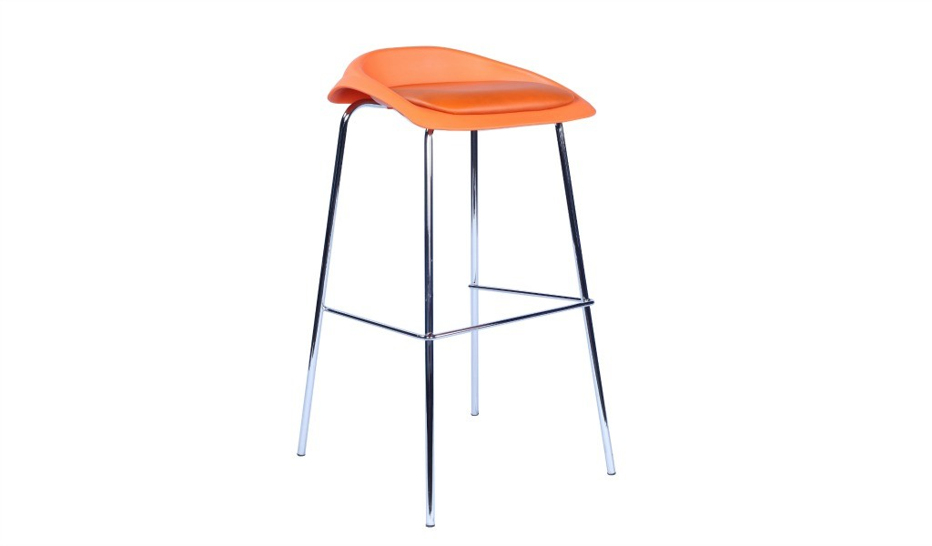 bar stool with steel base and orange seat