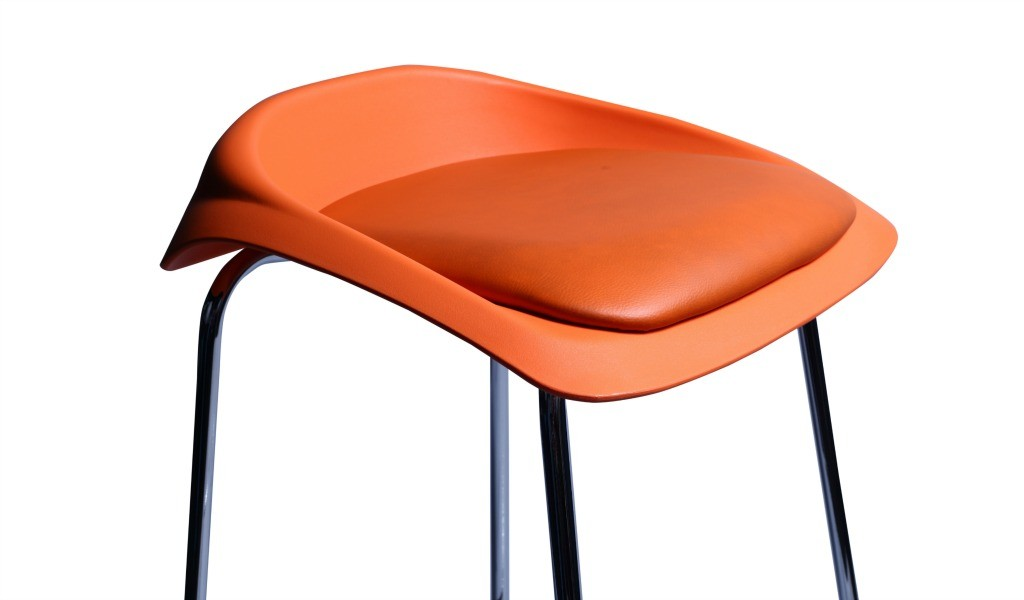 bar stool with orange cushioned seat