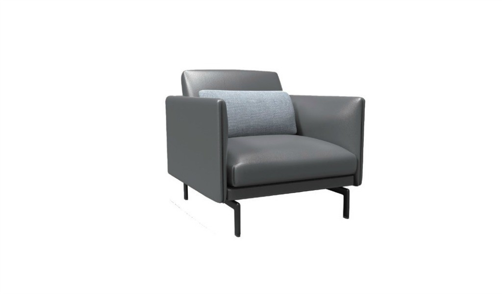 single seater office sofa in premium leather with gun metal finish legs