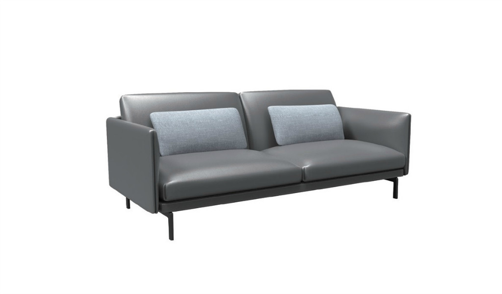 two seater office sofa in dark gray premium leather