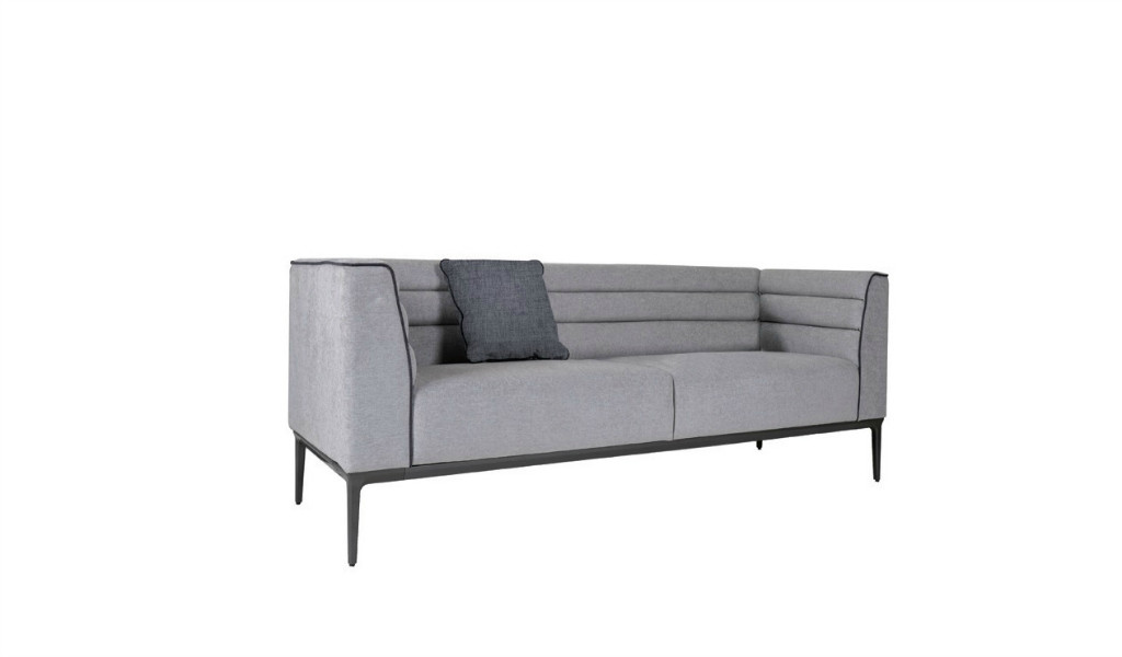 two seater lounge sofa in gray fabric and dark gray metal legs