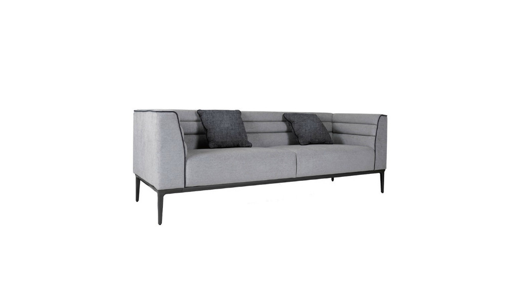three seater lounge sofa in fabric with dark gray metal legs