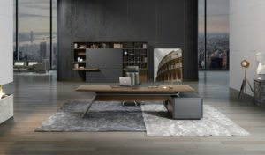 large office cabin with large office table in walnut finish