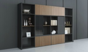 large office cabinet with glass doors and display shelves in walnut finish