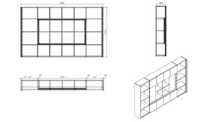Office cabinet shop drawing with dimensions
