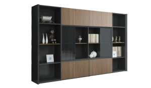 a 10 feet office cabinet with bookshelf in walnut and solid gray finish
