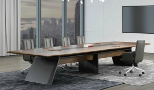 boardroom with modern conference table and leather chairs