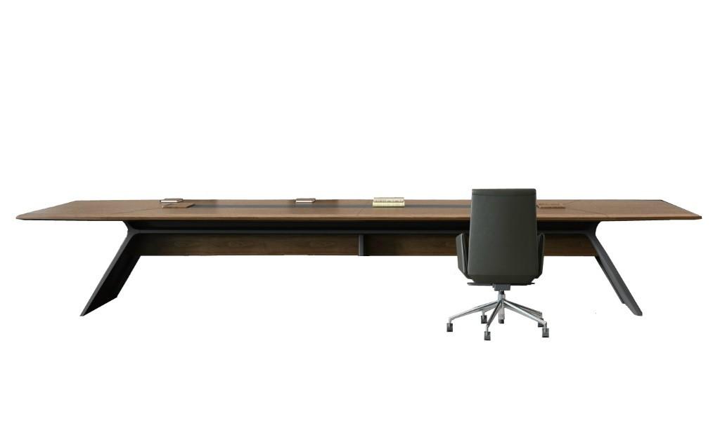 premium boardroom table in walnut finish