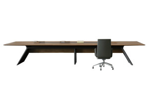 premium boardroom table in walnut veneer and meteor gray base