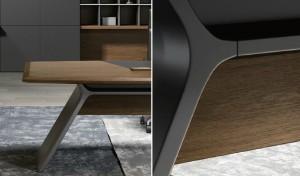 walnut veneer office table close up