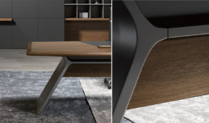 walnut veneer office table top and gray panel legs