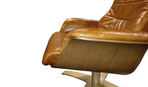 reclining chair armrests in tan leather