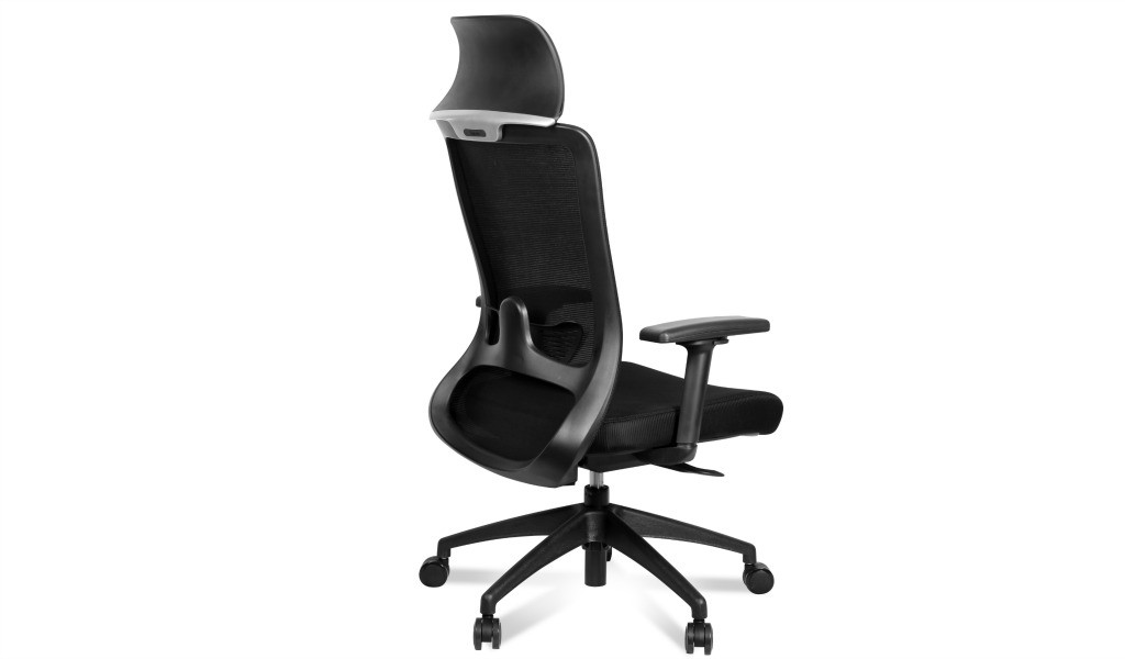 Black ergonomic office chair with adjustable lumbar support and headrest