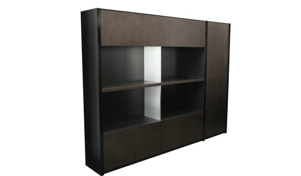 full height bookshelf and file cabinet in dark walnut veneer