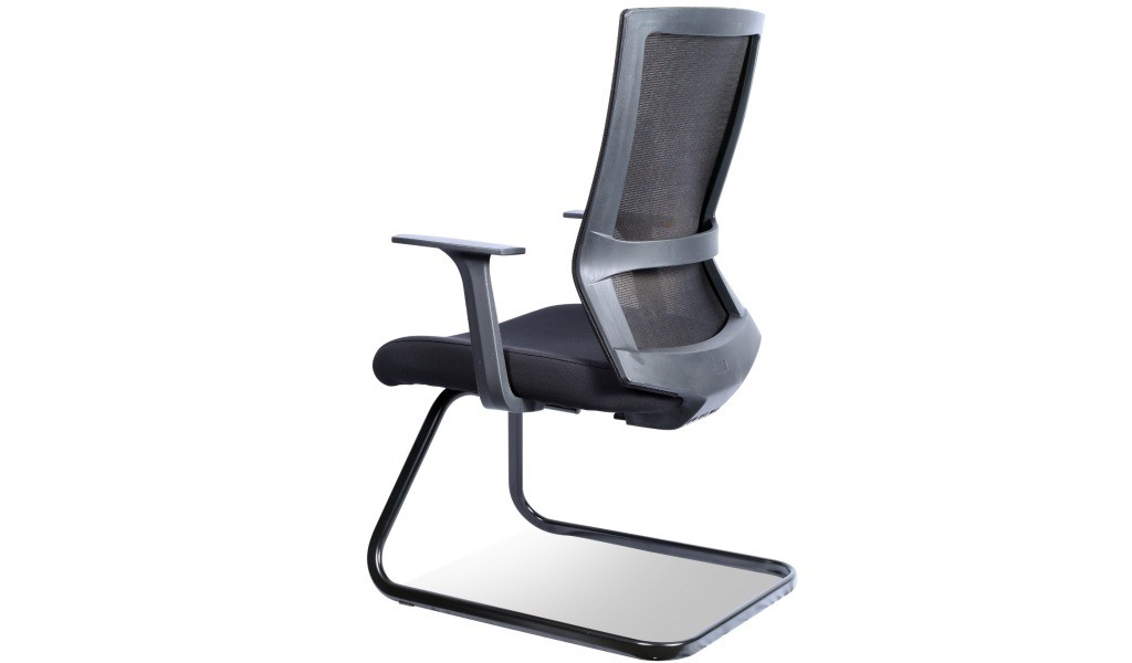 black visitor chair with a fixed sled base