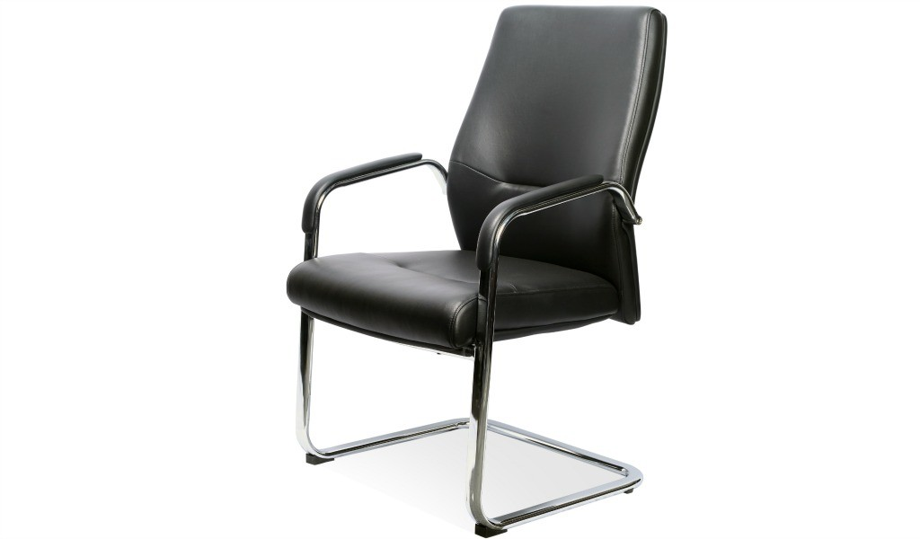 a fixed base visitors chair in black leather