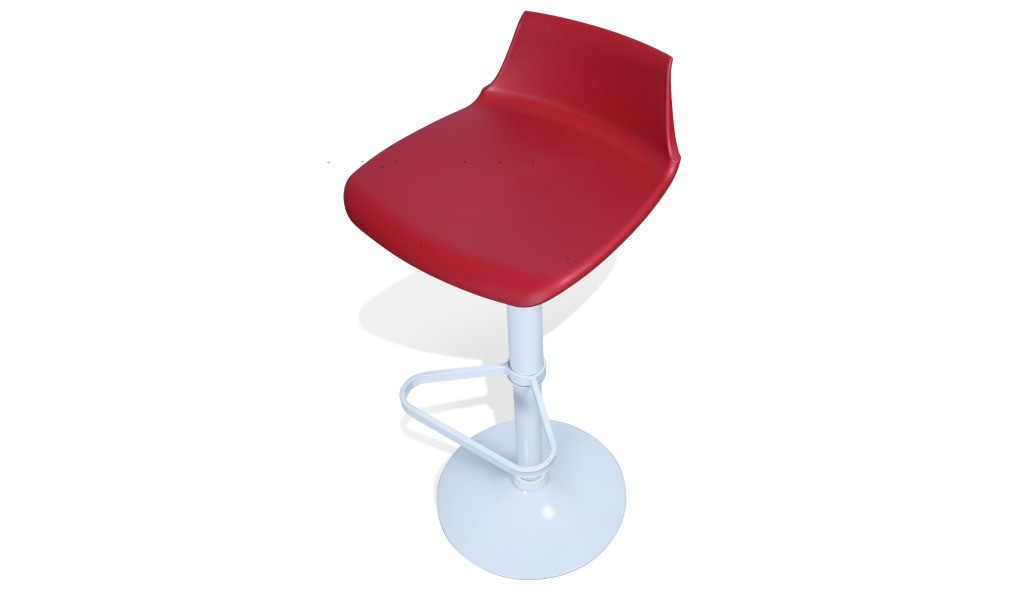 bar stool with red seat and foot rest