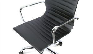 eams office chair in black leather finish