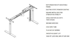 Motorized height adjustable desk shop drawing