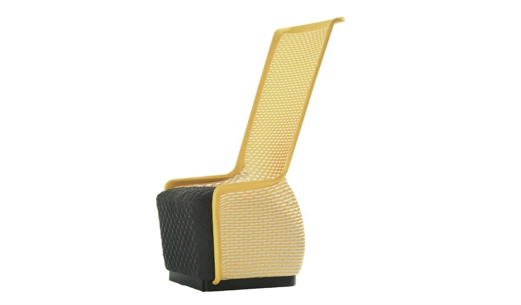 a stylish lounge chair in bright yellow mesh and black cushioned seat