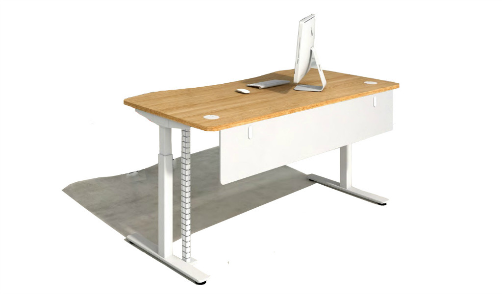 motorized height adjustable table with natural wood finish top