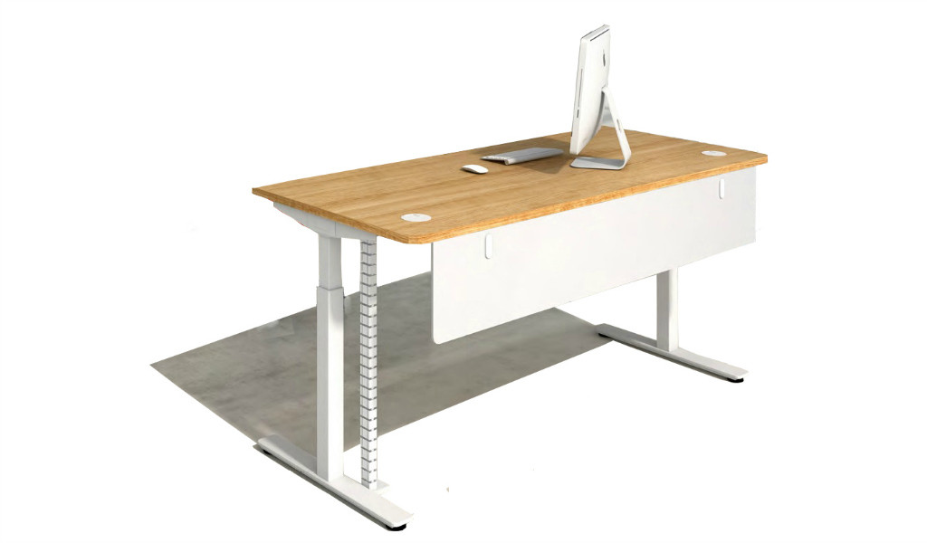 motorized height adjustable desk with light oak laminate worktop