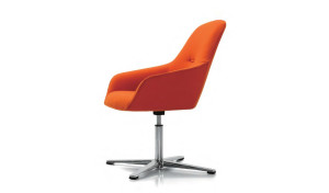 orange color revolving easy chair in fabric