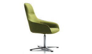 revolving lounge chair in green fabric