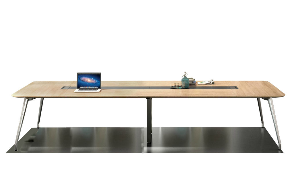10 feet meeting table in light oak with aluminum legs