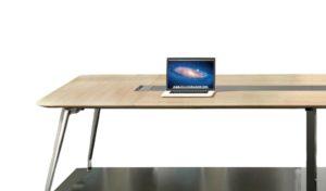 meeting table in light oak laminate