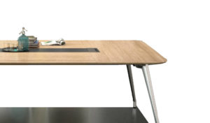 meeting table top finished in light oak laminate