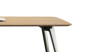 light oak meeting table top with aluminum legs