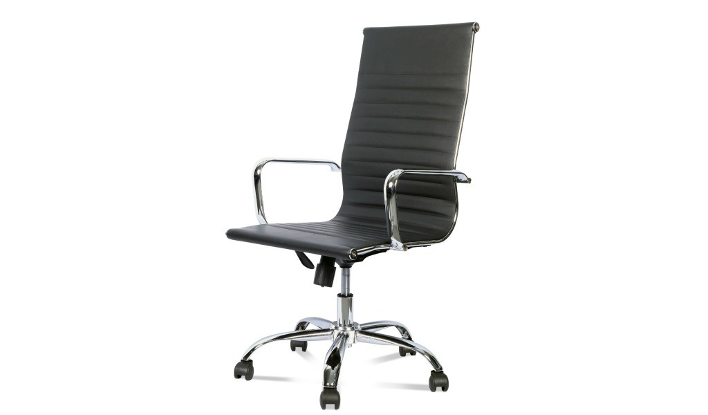 eams high back office chair in black PU leather