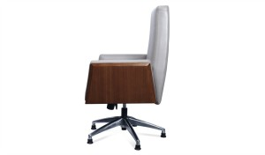 office chair in gray leather side view