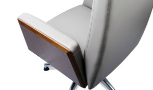 office chair in gray leather close up 2