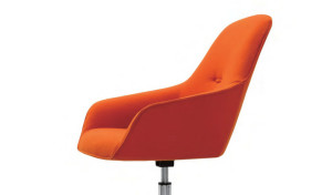 lounge chair seat in bright orange fabric