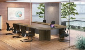 conference room with U shape conference table and chairs