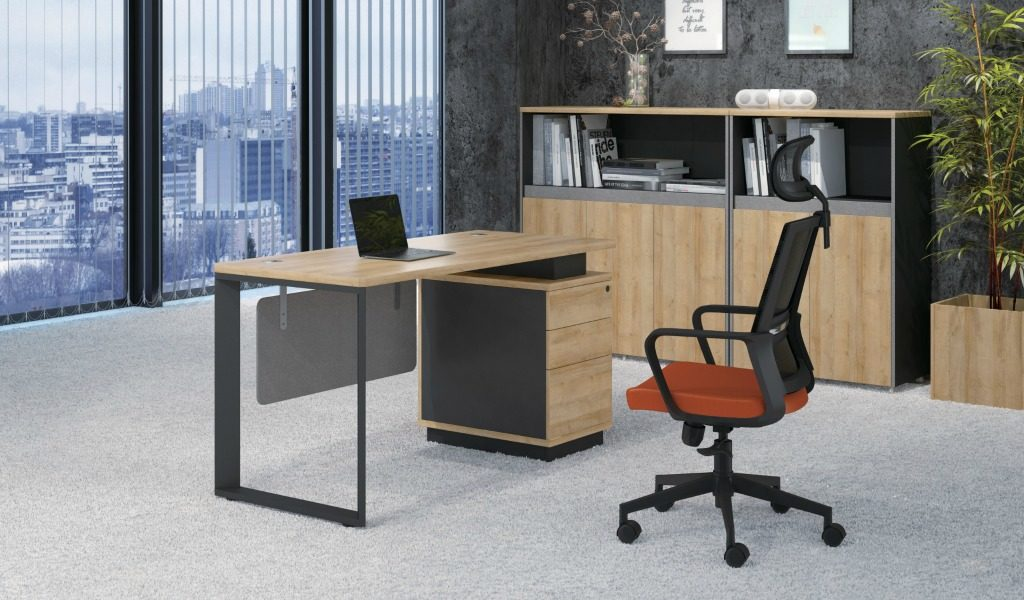 office cabin with small office desk with drawers and chair