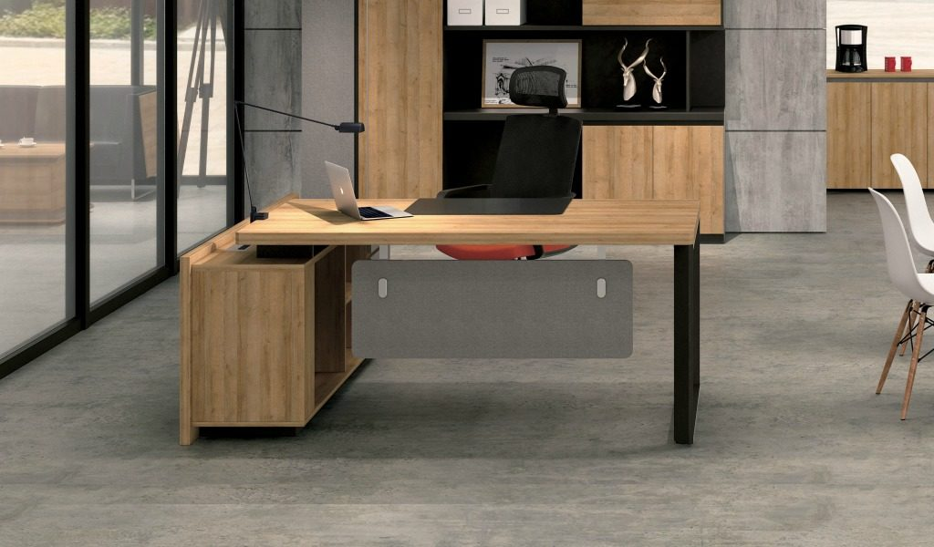 office cabin with office desk in light wood