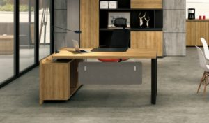 office desk and back cabinet in light wood